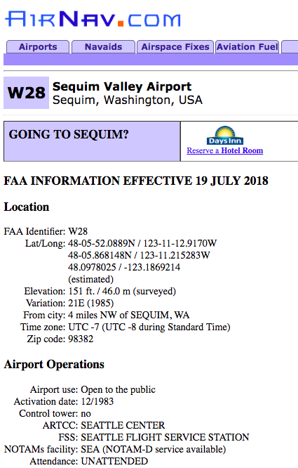 Sequim Valley Airport Pilot Info